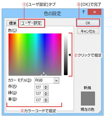 PowerPoint色の設定のユーザー設定