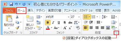 PowerPoint段落ダイアログボックスボタン