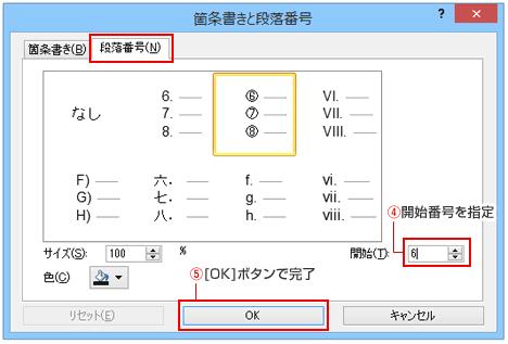 パワーポイント箇条書きと段落番号ダイアログボックス