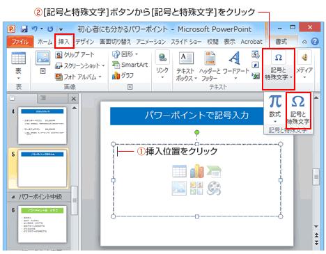 PowerPoint記号と特殊文字ボタン