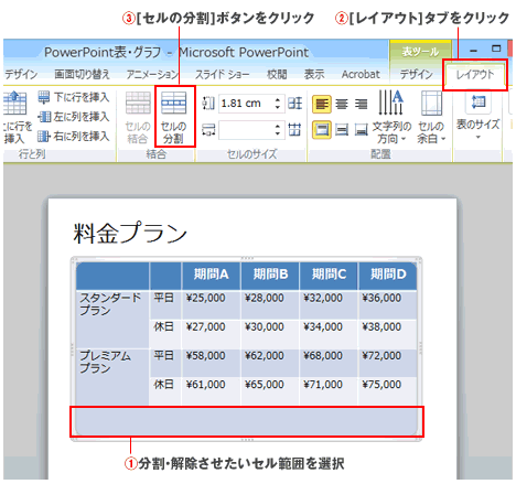 PowerPoint表の分割