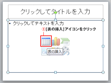 PowerPointプレースホルダで表の挿入