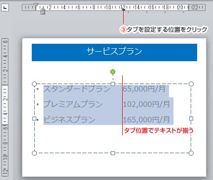PowerPointルーラー上のタブ位置