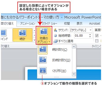 パワーポイントアニメーションのオプションボタン