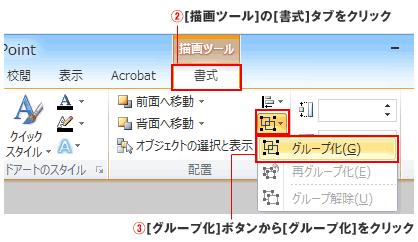パワーポイントの書式タブで図形編集