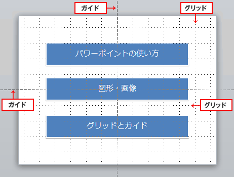 パワーポイントスライドのガイド線