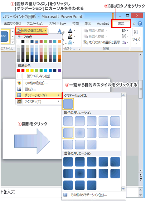 PowerPointグラデーション効果