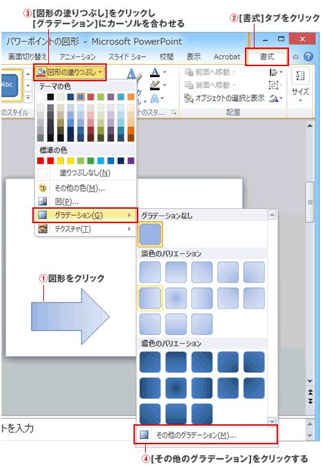 パワーポイント2色のグラデーション