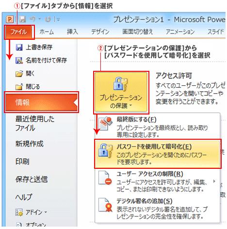 PowerPoint2010と2013のパスワード
