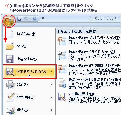 PowerPoint2007と2010のパスワード設定
