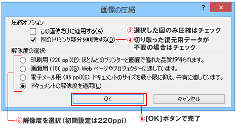 パワーポイント・エクセル・ワードの画像の圧縮ダイアログボックス