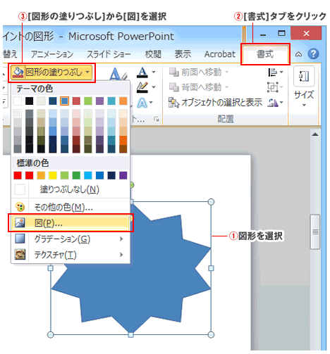 PowerPoint図形に画像を埋め込む